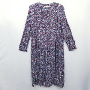 ZARA Flowing Floral Print A-Line Midi Dress in burgundy and blue - Size XL - VGC
